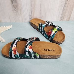 New! Floral Croc Embossed Buckle Sandals